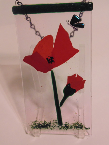 Garden Hanger-Red Poppy with Butterfly