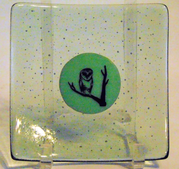 Plate-Green Tint with Mint Green Center & Owl Decal