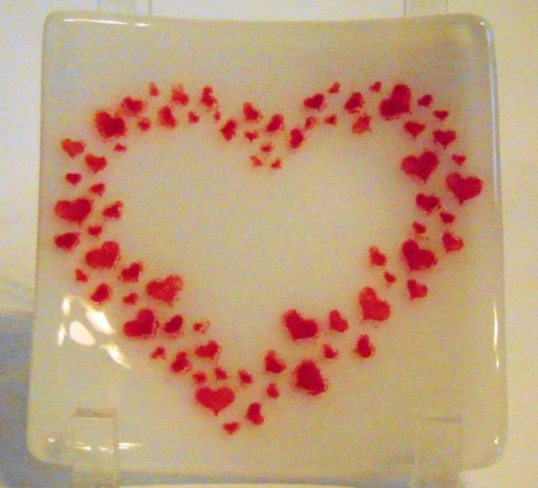 Heart Plate-Red on white