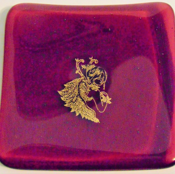 Small plate, Cranberry with Fairy Queen decal