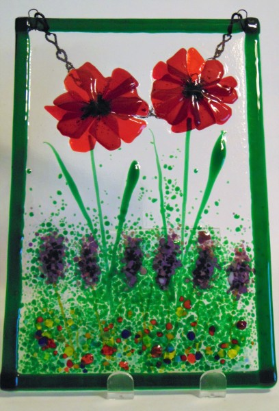Garden Hanger-Red Poppies with Lavender