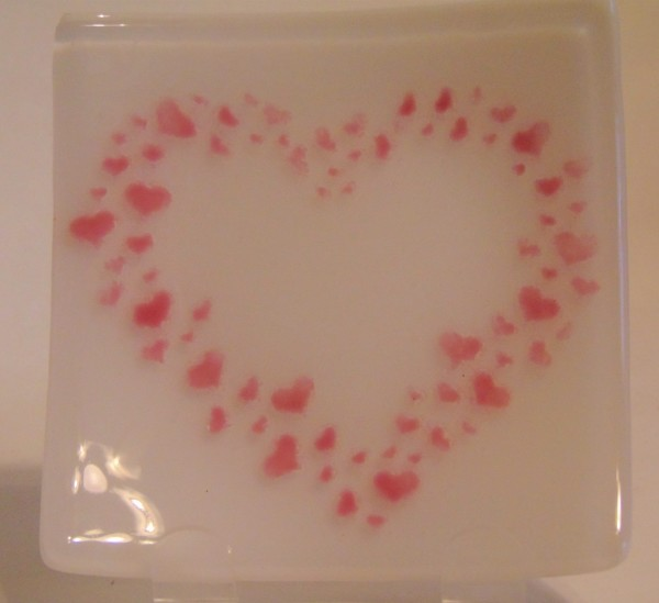 Plate-White with Pink Heart