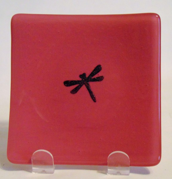 Small Plate-Copper Dragonfly on Pink