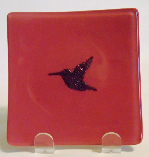 Small Plate-Copper Hummingbird on Pink