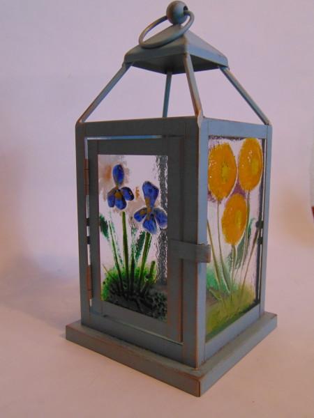 Lantern, Blue with Botanical Panels