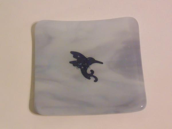 Small dish Purple streaky with copper hummingbird