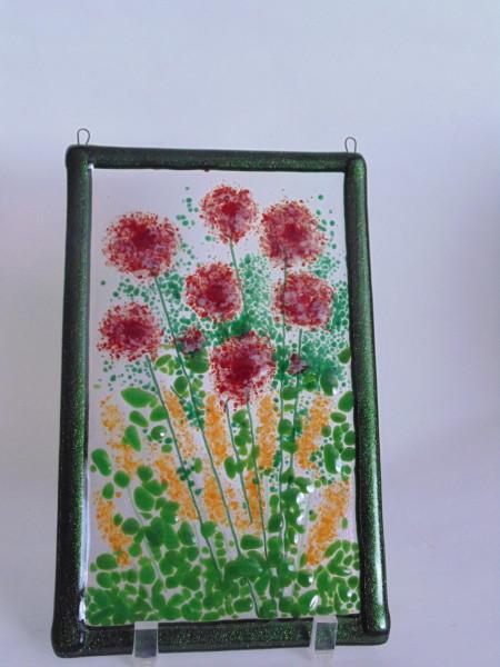 Garden Hanger-Red Dahlias & Orange Spiky flowers