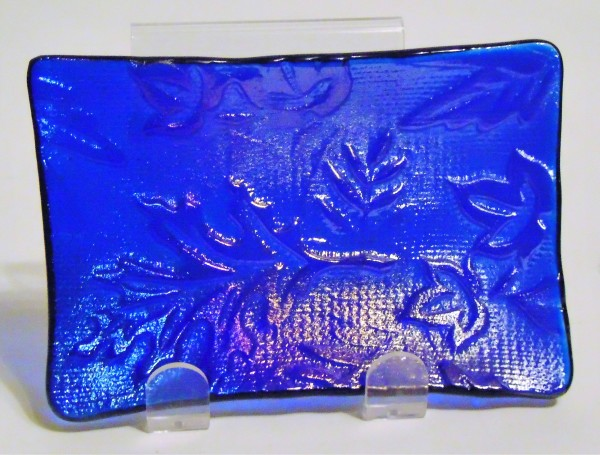 Soap Dish/Spoon Rest-Leaf Imprint on Blue Irid