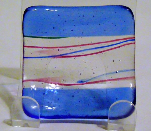Small Dish-Blue edges with pink/blue stringers