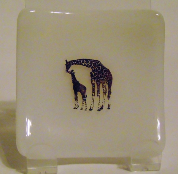 Small Plate-Metallic Giraffes on White