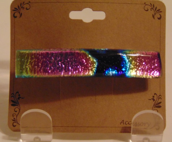 Barrette-Dichroic Capped, Pink/Gold/Blue