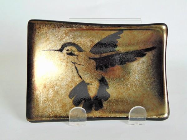 Soap Dish/Spoon Rest-Irid with Hummingbird