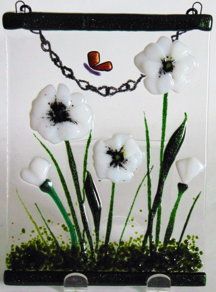 Garden Hanger-White Poppies with Butterfly