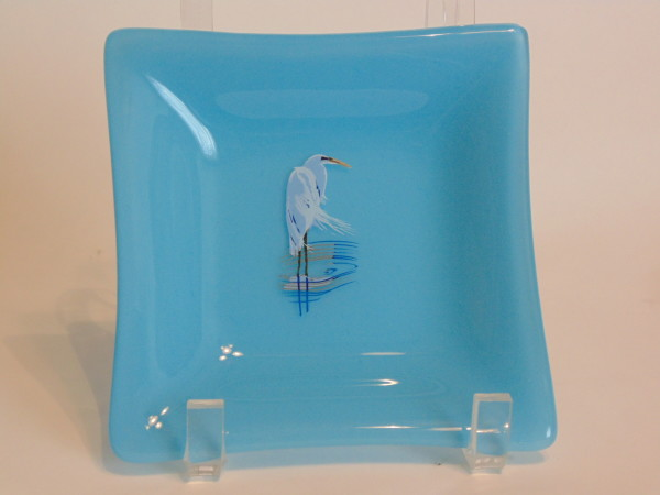 Small dish with heron decal