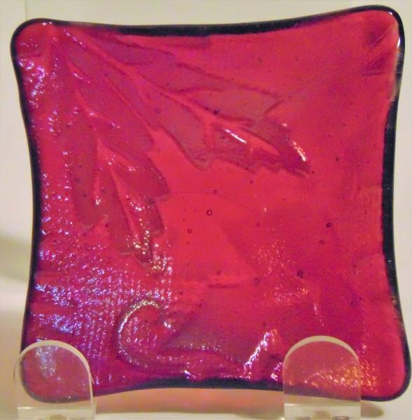 Small Dish-Cranberry Irid with Leaf Imprint