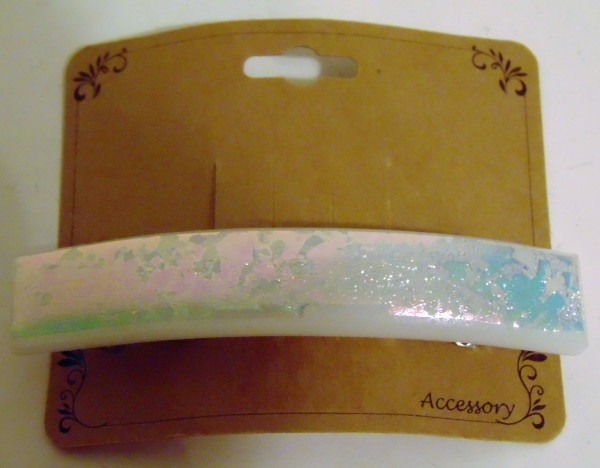 Barrette-Turquoise/Pink Splatter Dichro on White