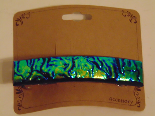 Barrette-Green/Gold Rippled Dichro