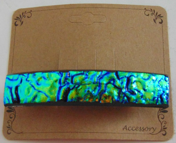 Barrette, Dichro-Green/Blue/Gold Ripple, Uncapped