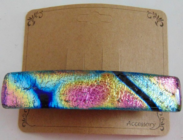 Barrette, Dichro-Gold/Blue/Pink/Black, Capped