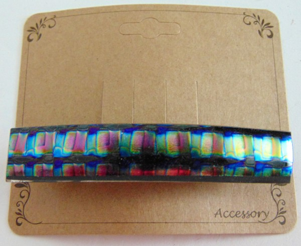 Barrette, Dichro-Blue/Gold/Pink Checks, Uncapped