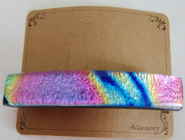 Barrette, Dichro-Pink/Gold/Blue/Black, Capped