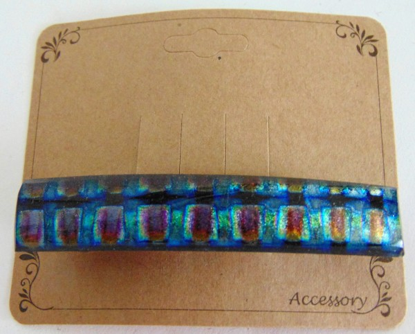 Barrette, Dichro-Blue/Green/Red Checks, Capped