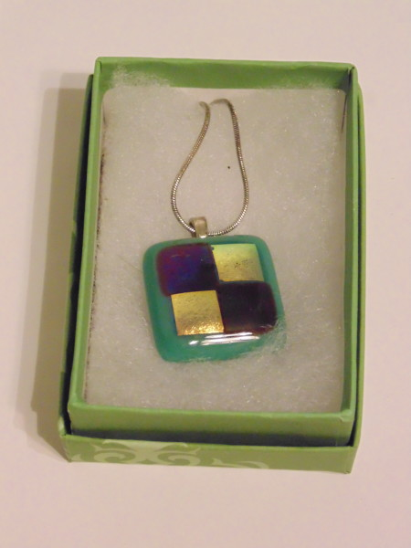 Necklace-Teal with Red & Gold Dichroic