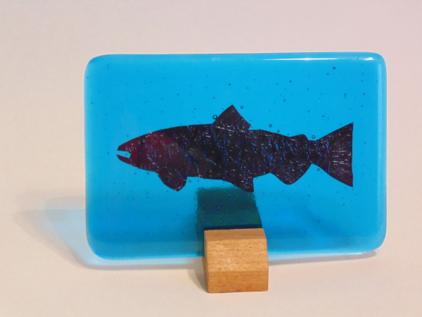 Copper Fish in blue with stand