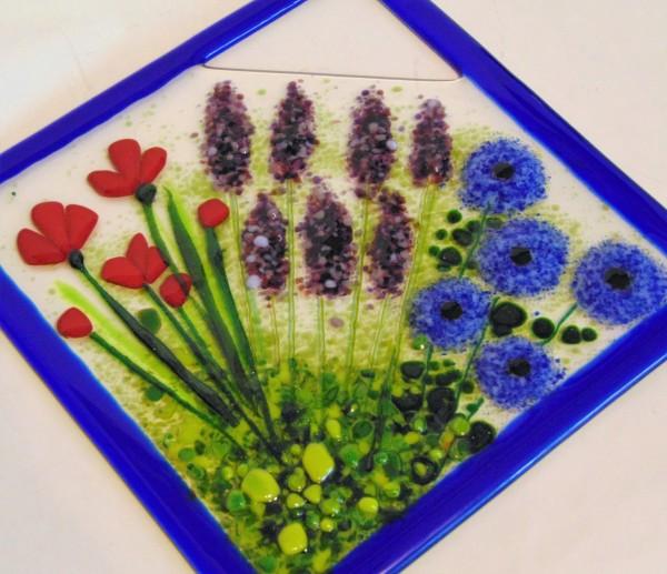 Garden Hanger, Diagonal-Poppies, Lavender, Poms