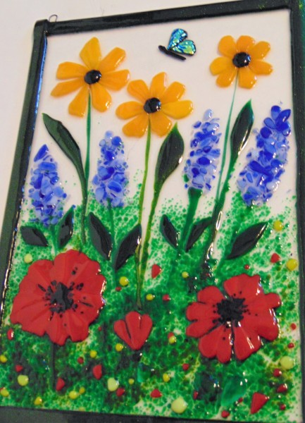 Garden Hanger-Daisies, Delphiniums, Poppies, Butterfly