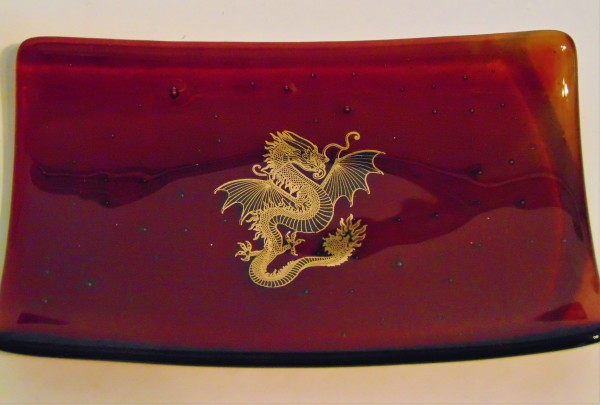 Spoon Rest Tray with Dragon Decal