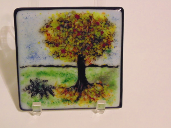 Frit Painting-Autumn Tree with fern