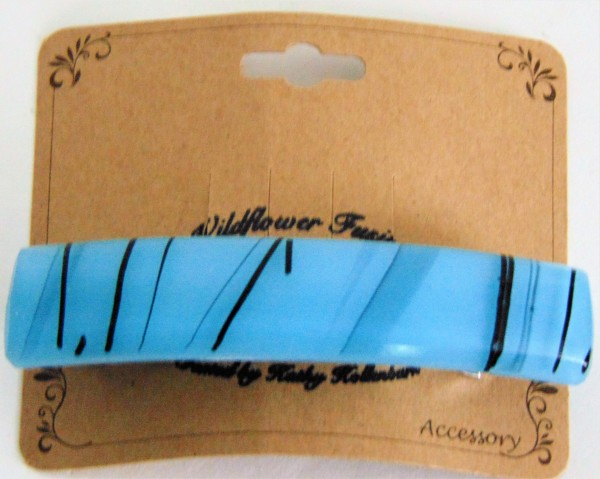 Barrette, Turquoise Irid with Black Stringer