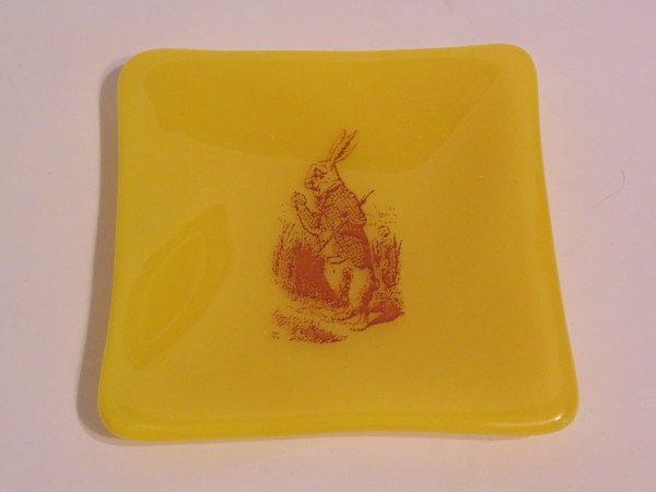 White Rabbit plate on yellow