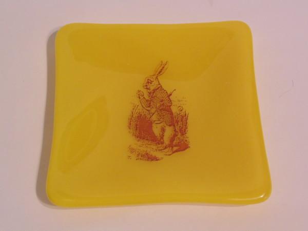 White Rabbit plate on yellow