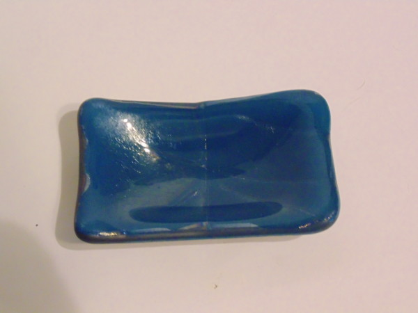 Small dish-Steel blue with irid stringer