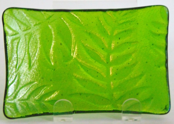 Spoon Rest/Soap Dish-Green Irid with Fern Imprint