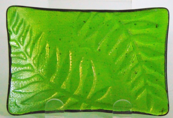Soap Dish/Spoon Rest-Green Irid with Fern Imprint
