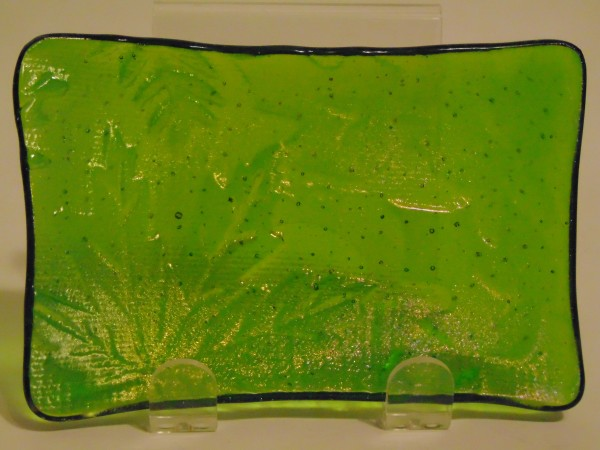Spoon Rest/Soap Dish-Green with Irid, Leaf Imprint