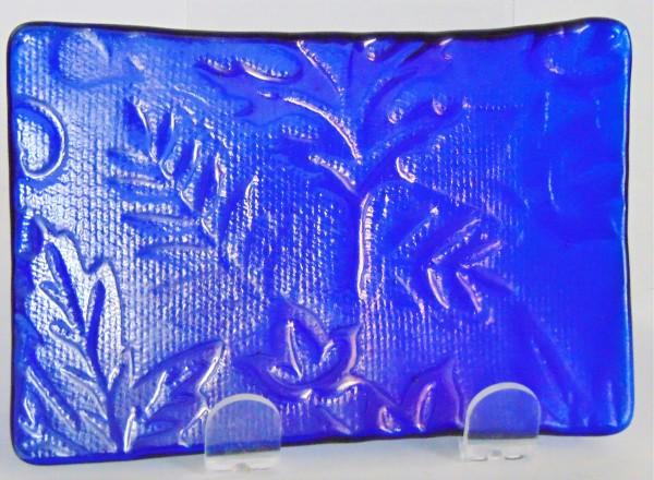 Soap Dish/Spoon Rest-Cobalt Irid with Leaf Imprint