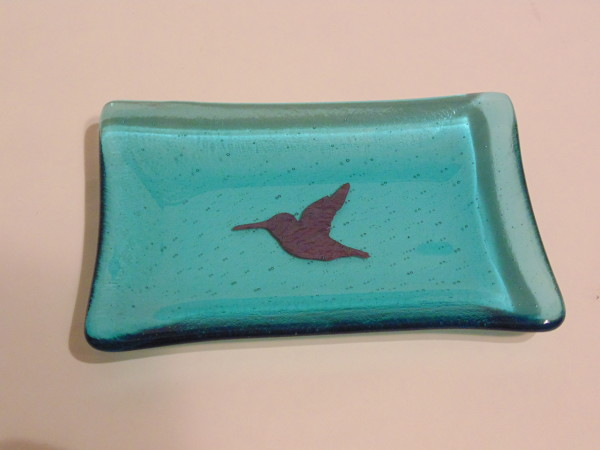 Soap Dish-Copper Hummingbird in Light Turquoise