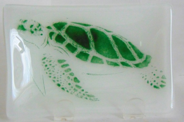 Soap Dish/Spoon Rest with Green Sea Turtle