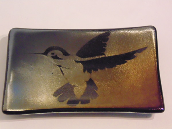 Soap Dish-Hummingbird on Silver/Gold Irid