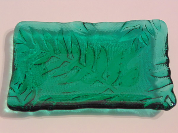 Soap Dish-Emerald Green with Fern Imprint
