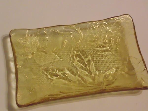 Soap Dish-Leaves imprinted on amber irid