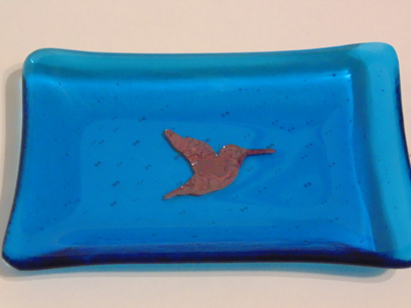Soap Dish-Copper Hummingbird on Turquoise