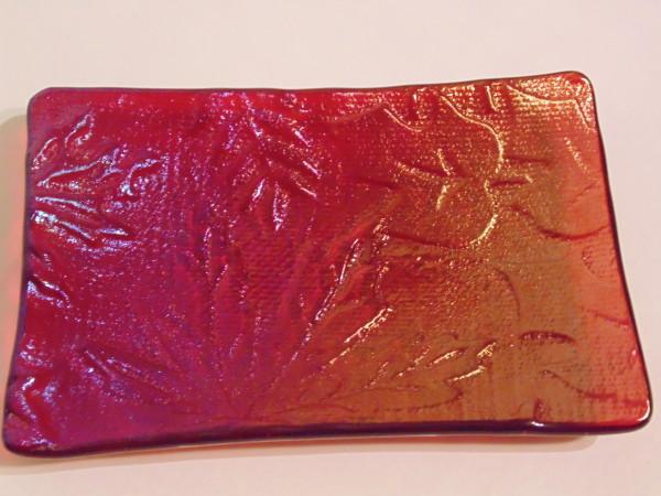 Soap Dish-Red irid with leaf impression