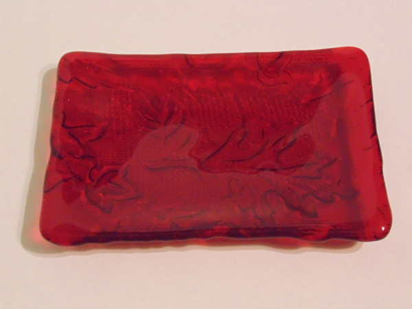 Soap Dish-Red with leaf impression