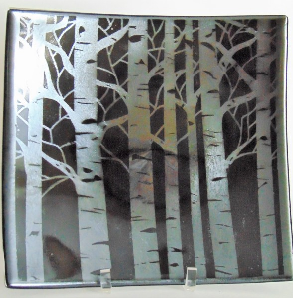 Plate-Birch Trees on Black Irid