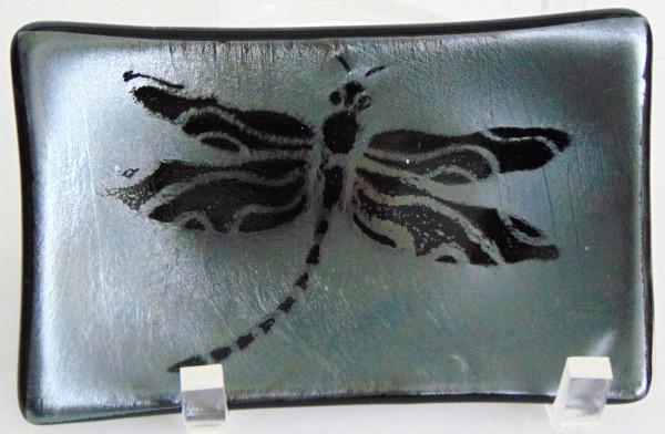 Soap Dish/Spoon Rest-Dragonfly on Black Irid